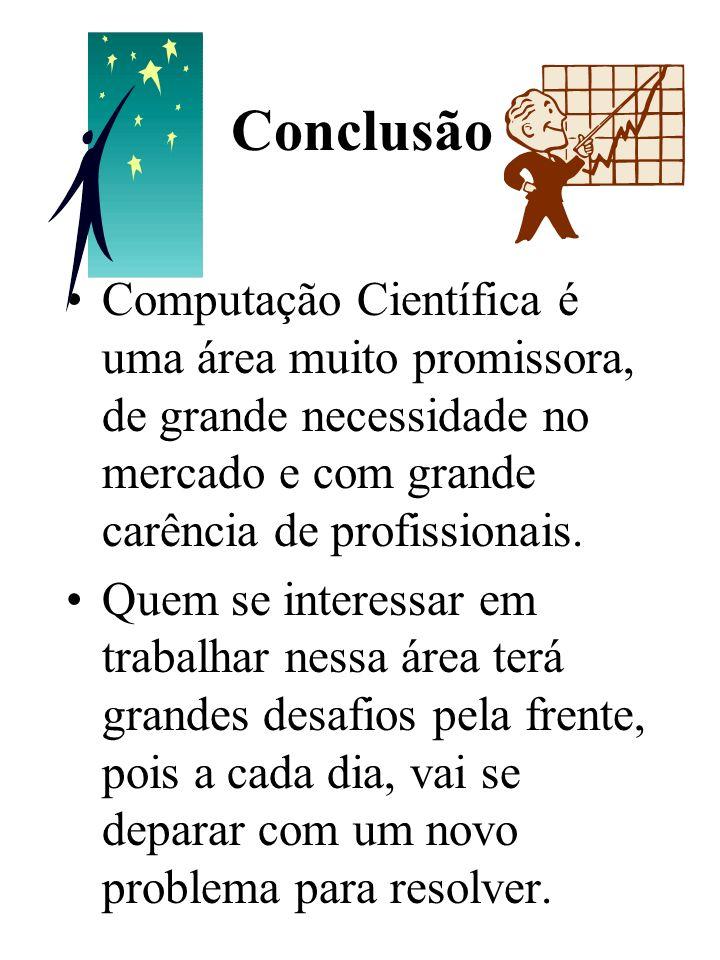 Conclusão Computação Científica é uma área muito promissora, de grande necessidade no mercado e com grande carência de profissionais.