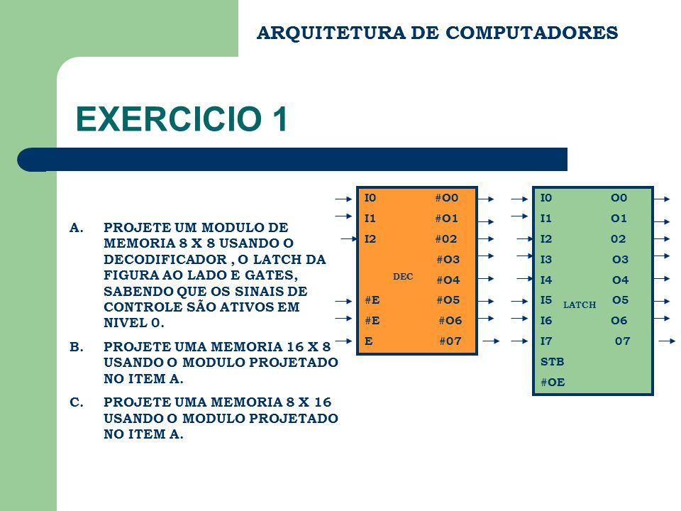 ARQUITETURA DE COMPUTADORES EXERCICIO 1 A.PROJETE UM MODULO DE MEMORIA 8 X 8 USANDO O DECODIFICADOR, O LATCH DA FIGURA AO LADO E GATES, SABENDO QUE OS SINAIS DE CONTROLE SÃO ATIVOS EM NIVEL 0.