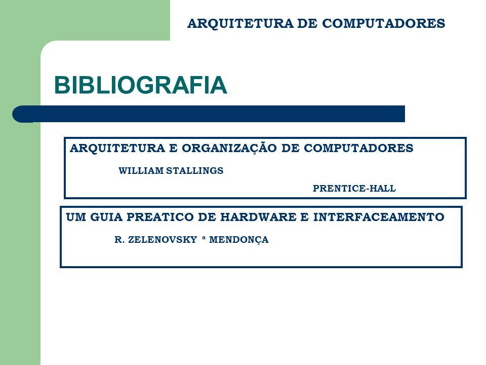 BIBLIOGRAFIA ARQUITETURA DE COMPUTADORES ARQUITETURA E ORGANIZAÇÃO DE COMPUTADORES WILLIAM STALLINGS PRENTICE-HALL UM GUIA PREATICO DE HARDWARE E INTERFACEAMENTO R.