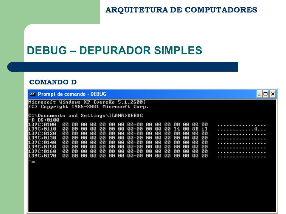 ARQUITETURA DE COMPUTADORES DEBUG – DEPURADOR SIMPLES COMANDO D