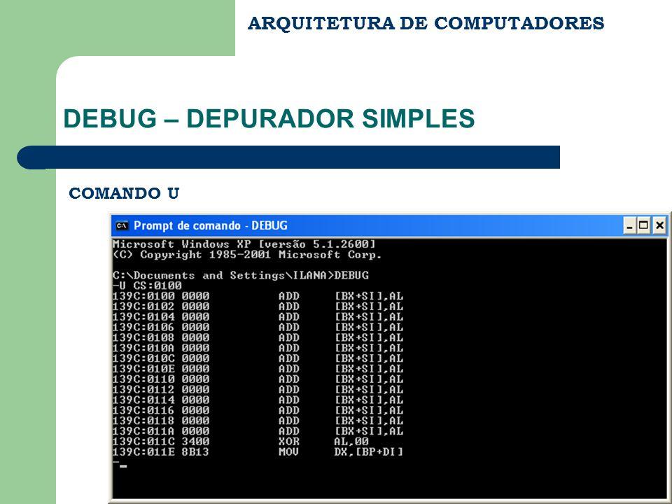 ARQUITETURA DE COMPUTADORES DEBUG – DEPURADOR SIMPLES COMANDO U