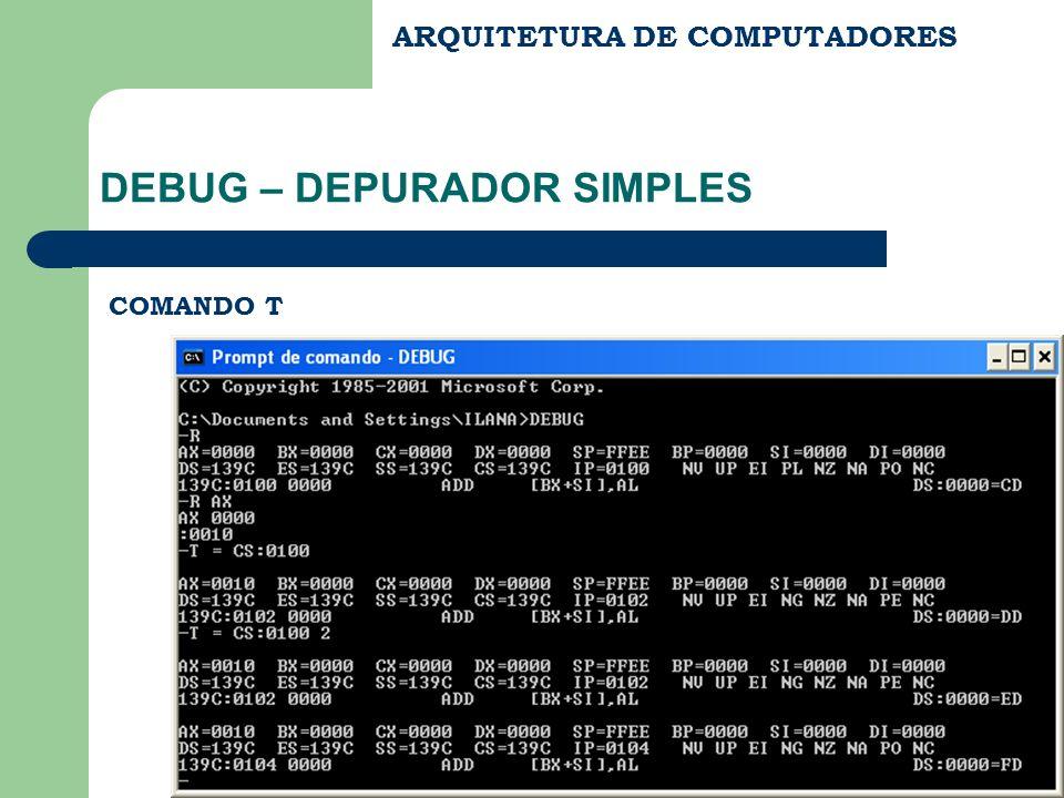 ARQUITETURA DE COMPUTADORES DEBUG – DEPURADOR SIMPLES COMANDO T