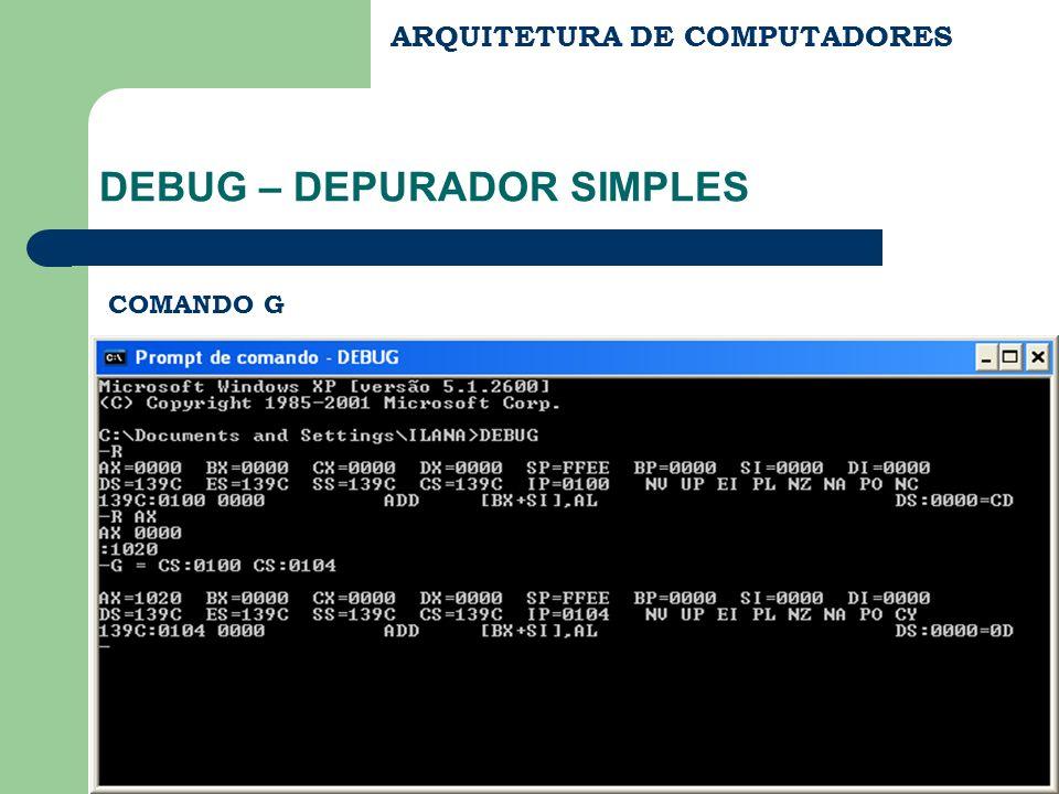 ARQUITETURA DE COMPUTADORES DEBUG – DEPURADOR SIMPLES COMANDO G