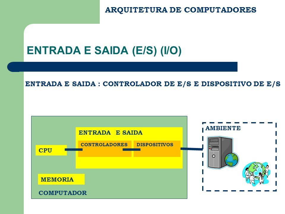 ARQUITETURA DE COMPUTADORES ENTRADA E SAIDA (E/S) (I/O) ENTRADA E SAIDA : CONTROLADOR DE E/S E DISPOSITIVO DE E/S CPU MEMORIA ENTRADA E SAIDA COMPUTAD