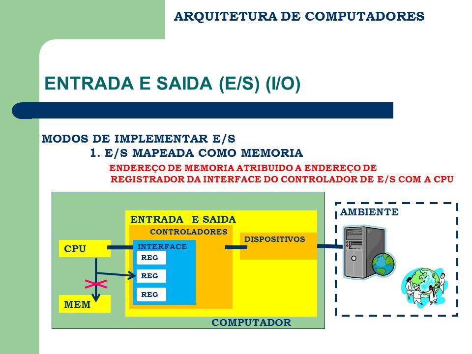 ARQUITETURA DE COMPUTADORES ENTRADA E SAIDA (E/S) (I/O) MODOS DE IMPLEMENTAR E/S 1. E/S MAPEADA COMO MEMORIA ENDEREÇO DE MEMORIA ATRIBUIDO A ENDEREÇO