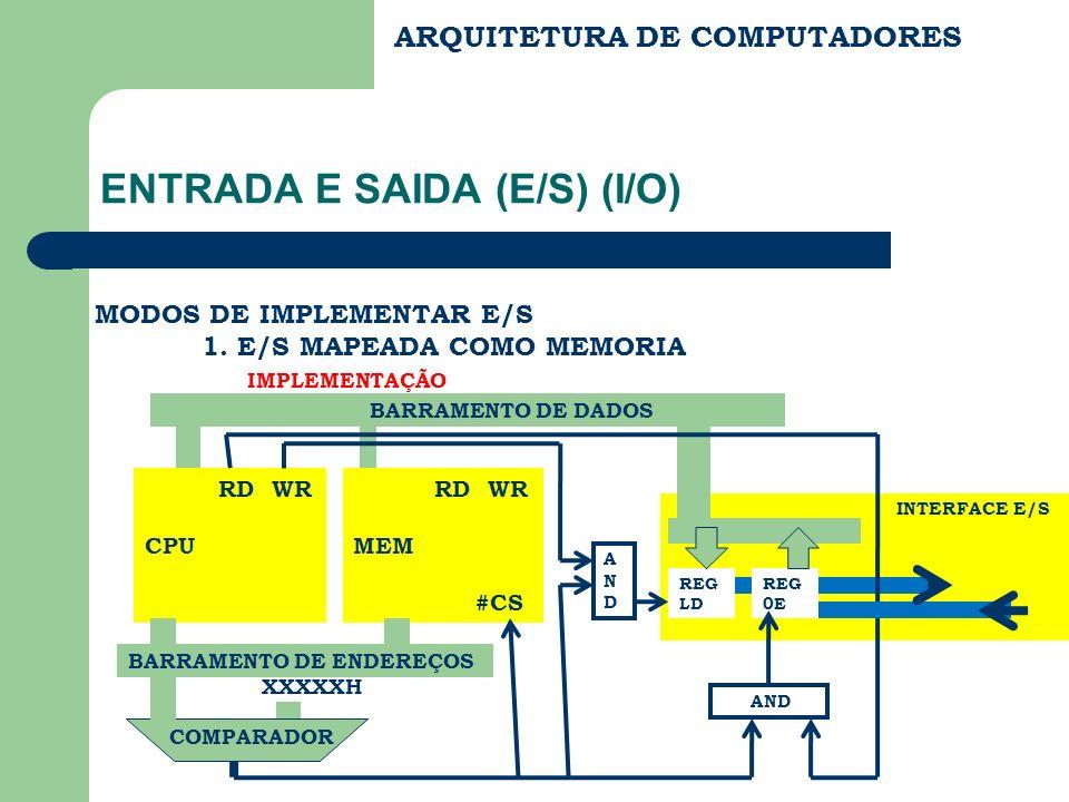 INTERFACE E/S ARQUITETURA DE COMPUTADORES ENTRADA E SAIDA (E/S) (I/O) MODOS DE IMPLEMENTAR E/S 1. E/S MAPEADA COMO MEMORIA IMPLEMENTAÇÃO RD WR CPU RD