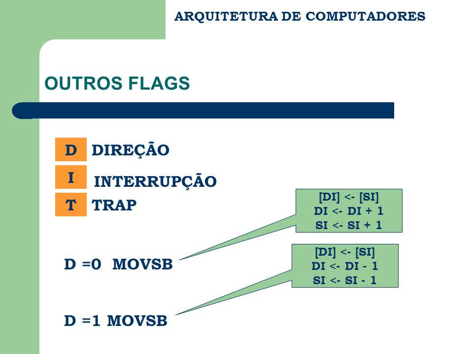 ARQUITETURA DE COMPUTADORES OUTROS FLAGS D I T DIREÇÃO INTERRUPÇÃO TRAP D =0 MOVSB D =1 MOVSB [DI] <- [SI] DI <- DI + 1 SI <- SI + 1 [DI] <- [SI] DI <