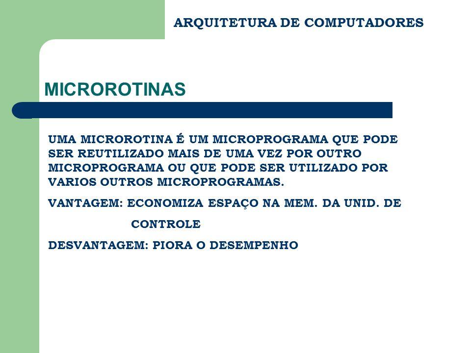 ARQUITETURA DE COMPUTADORES MICROROTINAS UMA MICROROTINA É UM MICROPROGRAMA QUE PODE SER REUTILIZADO MAIS DE UMA VEZ POR OUTRO MICROPROGRAMA OU QUE PO