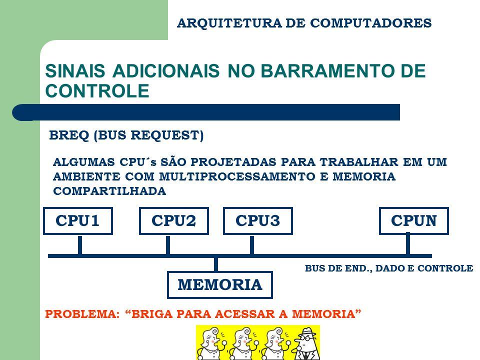 ARQUITETURA DE COMPUTADORES SINAIS ADICIONAIS NO BARRAMENTO DE CONTROLE BREQ (BUS REQUEST) ALGUMAS CPU´s SÃO PROJETADAS PARA TRABALHAR EM UM AMBIENTE