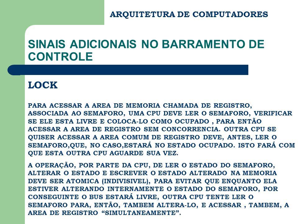 ARQUITETURA DE COMPUTADORES SINAIS ADICIONAIS NO BARRAMENTO DE CONTROLE LOCK PARA ACESSAR A AREA DE MEMORIA CHAMADA DE REGISTRO, ASSOCIADA AO SEMAFORO