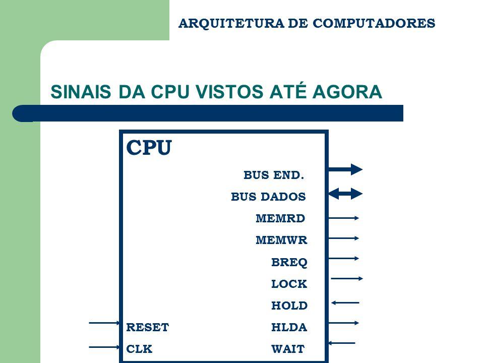ARQUITETURA DE COMPUTADORES SINAIS DA CPU VISTOS ATÉ AGORA CPU BUS END. BUS DADOS MEMRD MEMWR BREQ LOCK HOLD RESET HLDA CLK WAIT