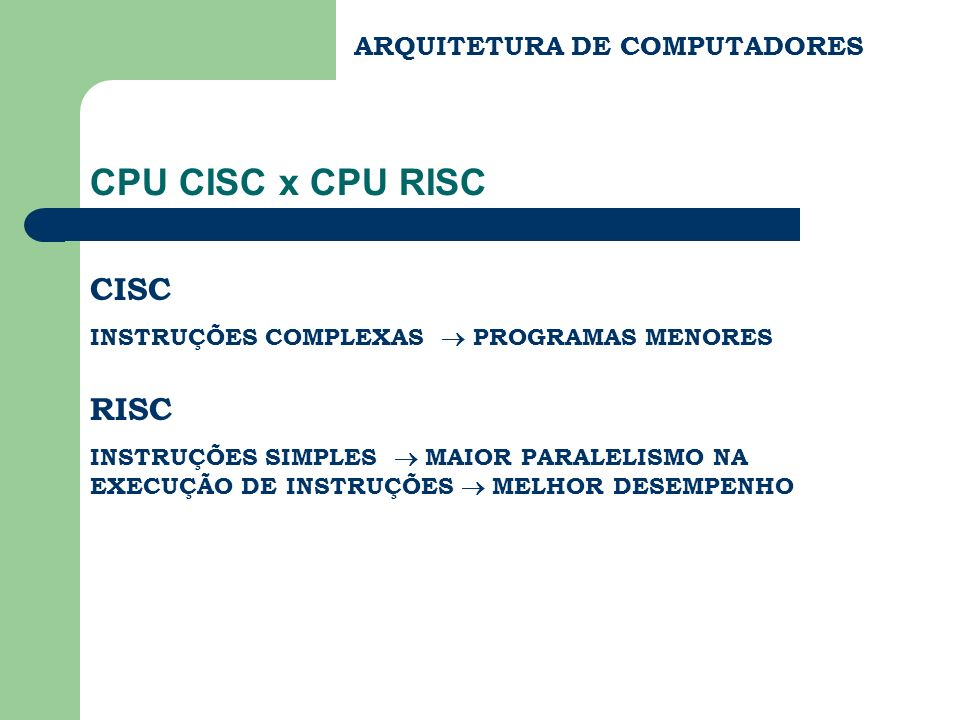 ARQUITETURA DE COMPUTADORES CPU CISC x CPU RISC CISC INSTRUÇÕES COMPLEXAS PROGRAMAS MENORES RISC INSTRUÇÕES SIMPLES MAIOR PARALELISMO NA EXECUÇÃO DE I