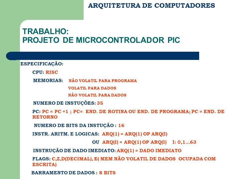 ARQUITETURA DE COMPUTADORES TRABALHO: PROJETO DE MICROCONTROLADOR PIC ESPECIFICAÇÃO: CPU: RISC MEMORIAS: NÃO VOLATIL PARA PROGRAMA VOLATIL PARA DADOS