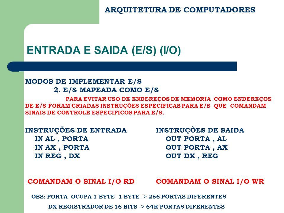 ARQUITETURA DE COMPUTADORES ENTRADA E SAIDA CS DS ES BX FC B.END B.DADOS R.END R.DADOS UNID.