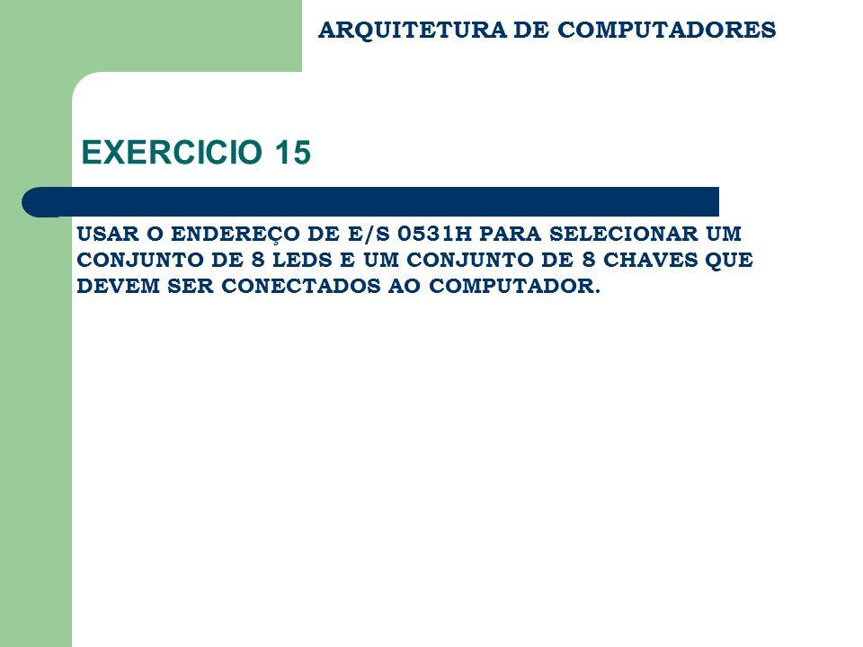 INTERFACE E/S ARQUITETURA DE COMPUTADORES EXERCICIO 15 – SOLUÇÃO IORD IOWR CPU REG LD BARRAMENTO DE DADOS 3S 0E BARRAMENTO DE ENDEREÇOS 0531H COMPARADOR ANDAND AND INTERFACE E/S DISPOSITIVOS E/S VCC.......