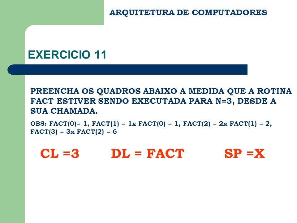 ARQUITETURA DE COMPUTADORES EXERCICIO 11 PREENCHA OS QUADROS ABAIXO A MEDIDA QUE A ROTINA FACT ESTIVER SENDO EXECUTADA PARA N=3, DESDE A SUA CHAMADA.
