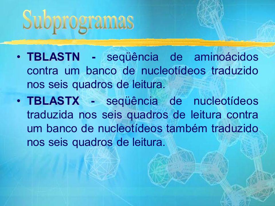 TBLASTNTBLASTN - seqüência de aminoácidos contra um banco de nucleotídeos traduzido nos seis quadros de leitura.