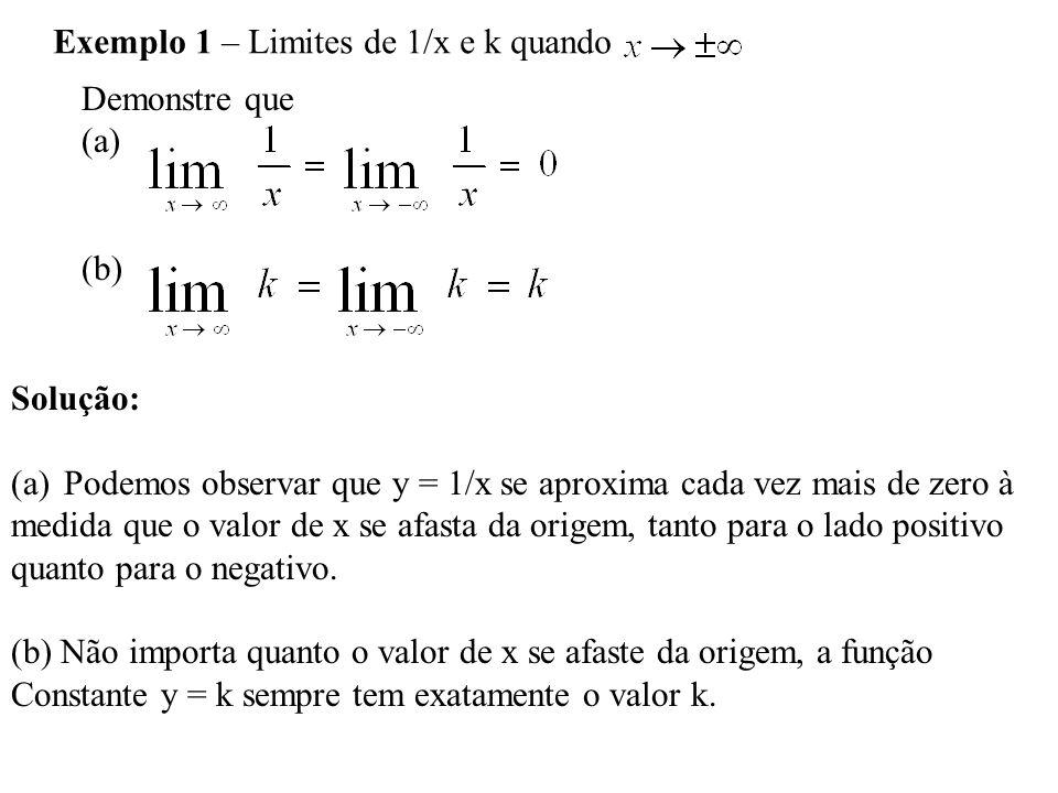 Exemplo 1 – Limites de 1/x e k quando Demonstre que (a) (b) Solução: (a)Podemos observar que y = 1/x se aproxima cada vez mais de zero à medida que o valor de x se afasta da origem, tanto para o lado positivo quanto para o negativo.