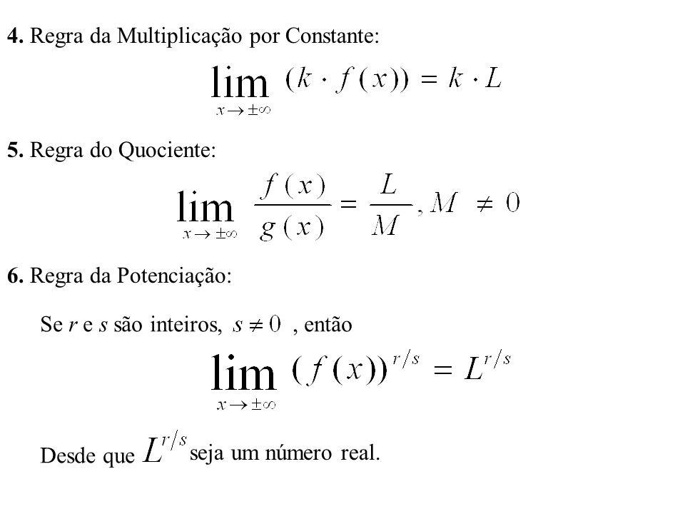 4. Regra da Multiplicação por Constante: 5. Regra do Quociente: 6.