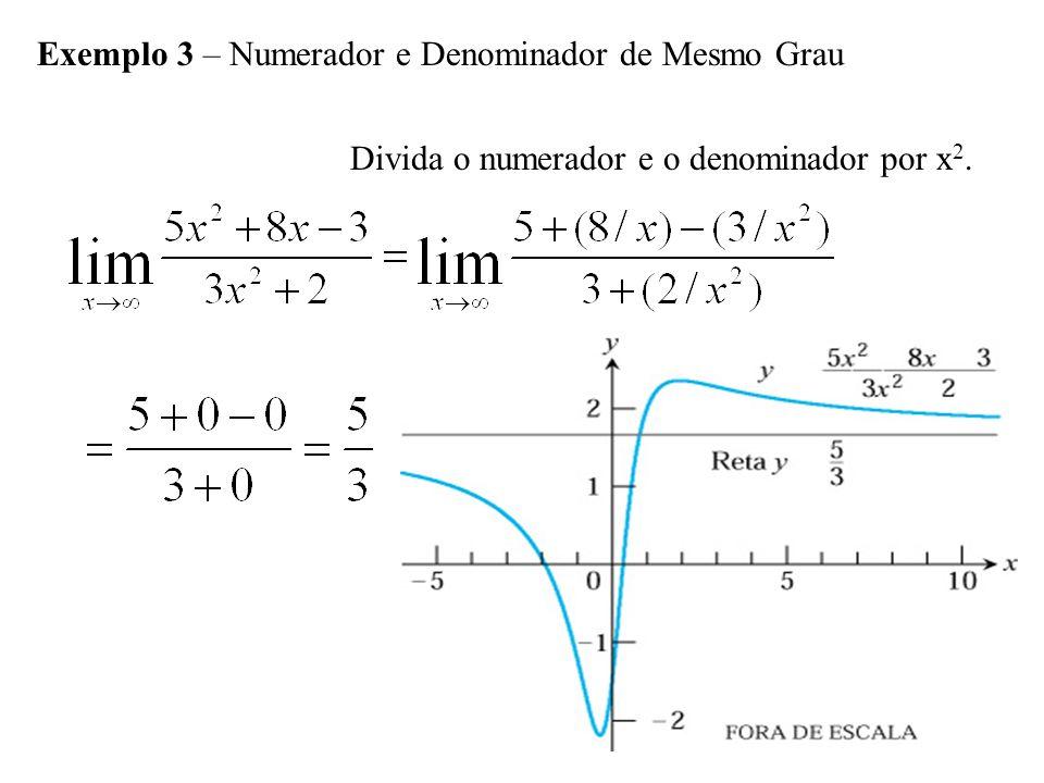 Exemplo 3 – Numerador e Denominador de Mesmo Grau Divida o numerador e o denominador por x 2.