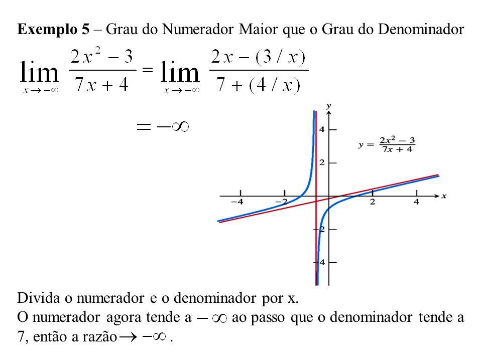 Exemplo 5 – Grau do Numerador Maior que o Grau do Denominador Divida o numerador e o denominador por x.