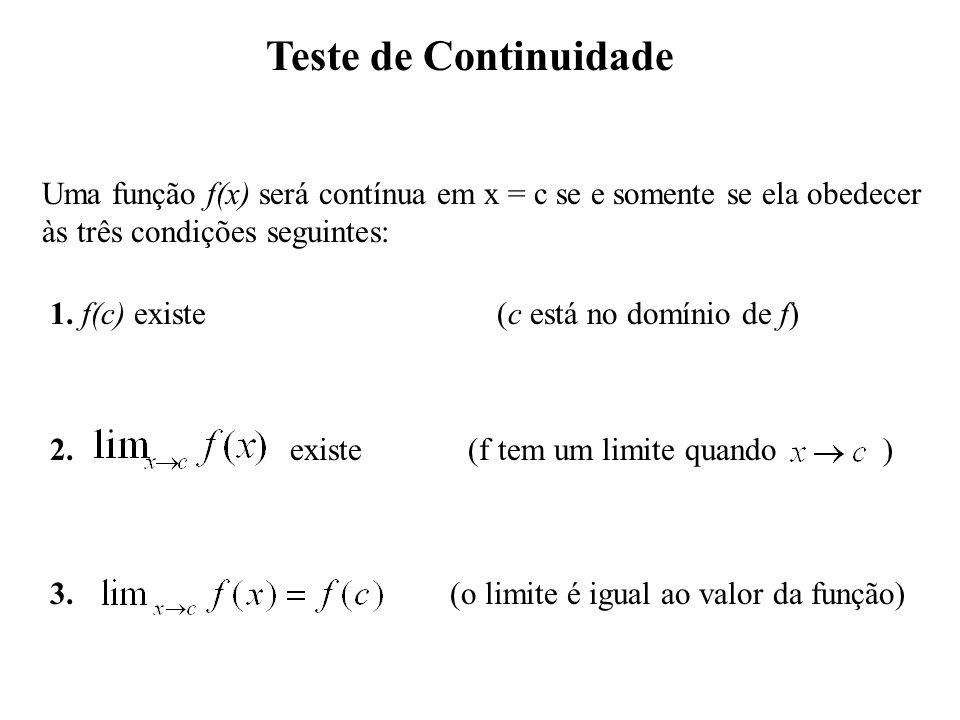 Teste de Continuidade Uma função f(x) será contínua em x = c se e somente se ela obedecer às três condições seguintes: 1.
