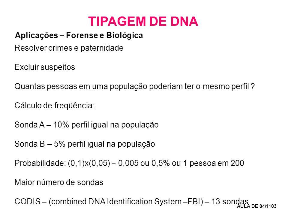 TIPAGEM DE DNA AULA DE 04/1103 Resolver crimes e paternidade Excluir suspeitos Quantas pessoas em uma população poderiam ter o mesmo perfil ? Cálculo