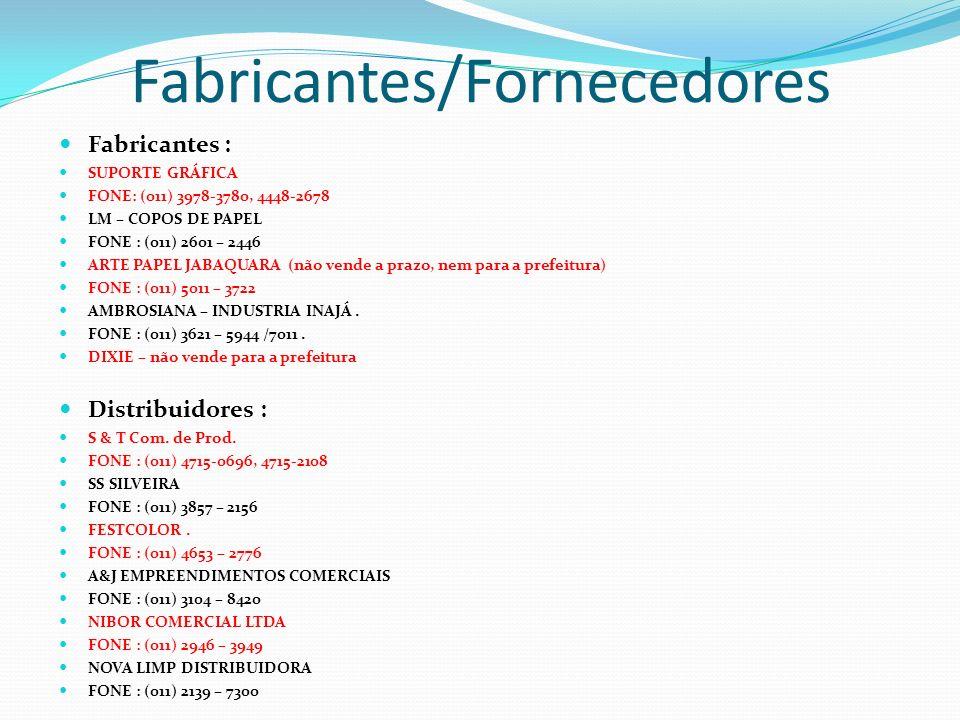 Fabricantes/Fornecedores Fabricantes : SUPORTE GRÁFICA FONE: (011) 3978-3780, 4448-2678 LM – COPOS DE PAPEL FONE : (011) 2601 – 2446 ARTE PAPEL JABAQU