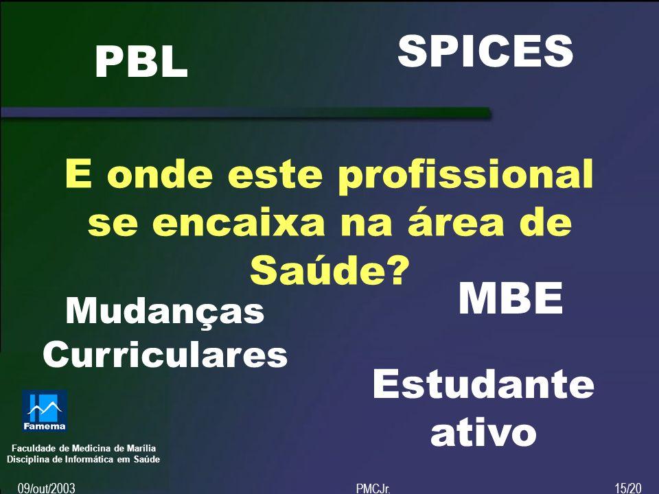 Faculdade de Medicina de Marília Disciplina de Informática em Saúde 09/out/2003PMCJr.15/20 E onde este profissional se encaixa na área de Saúde.