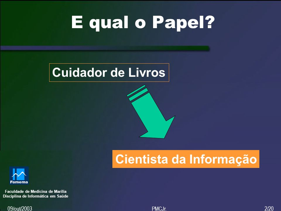 Faculdade de Medicina de Marília Disciplina de Informática em Saúde 09/out/2003PMCJr.2/20 E qual o Papel.