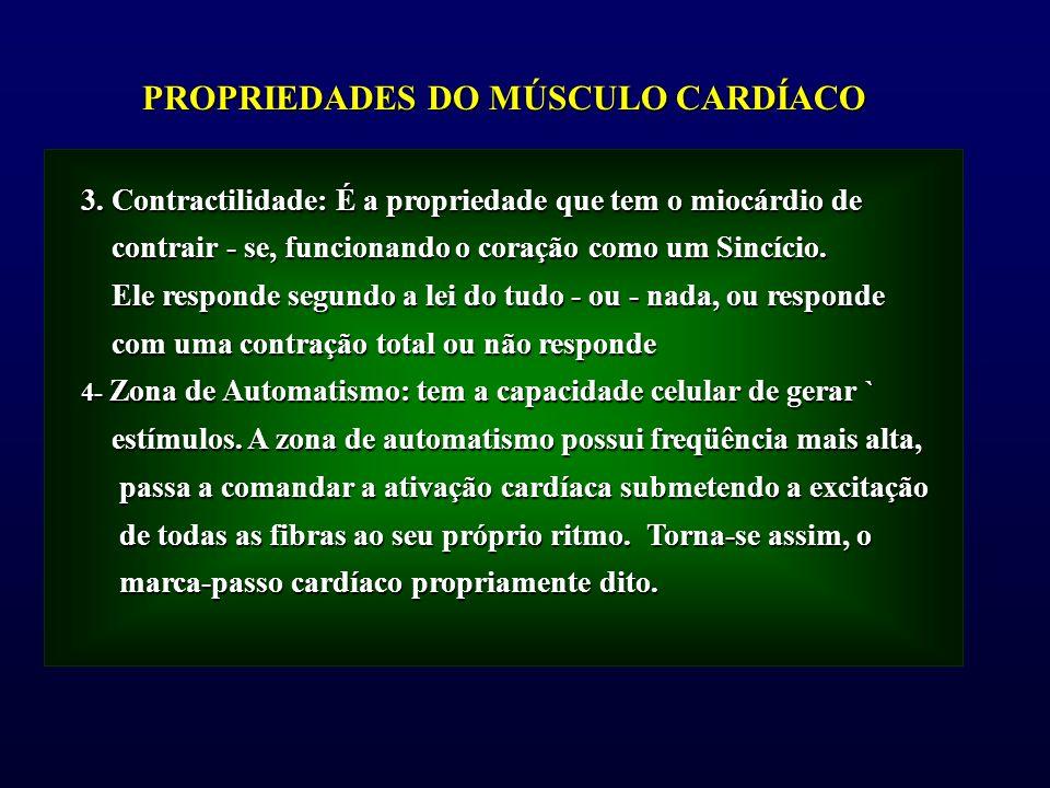 3. Contractilidade: É a propriedade que tem o miocárdio de contrair - se, funcionando o coração como um Sincício. contrair - se, funcionando o coração