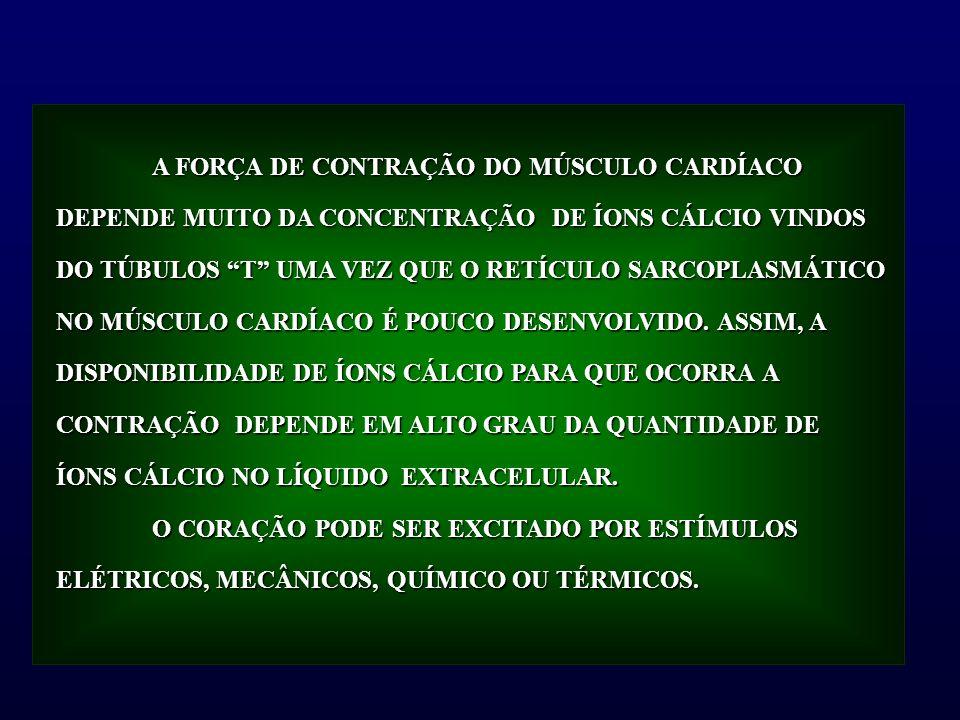 A FORÇA DE CONTRAÇÃO DO MÚSCULO CARDÍACO DEPENDE MUITO DA CONCENTRAÇÃO DE ÍONS CÁLCIO VINDOS DO TÚBULOS T UMA VEZ QUE O RETÍCULO SARCOPLASMÁTICO NO MÚ