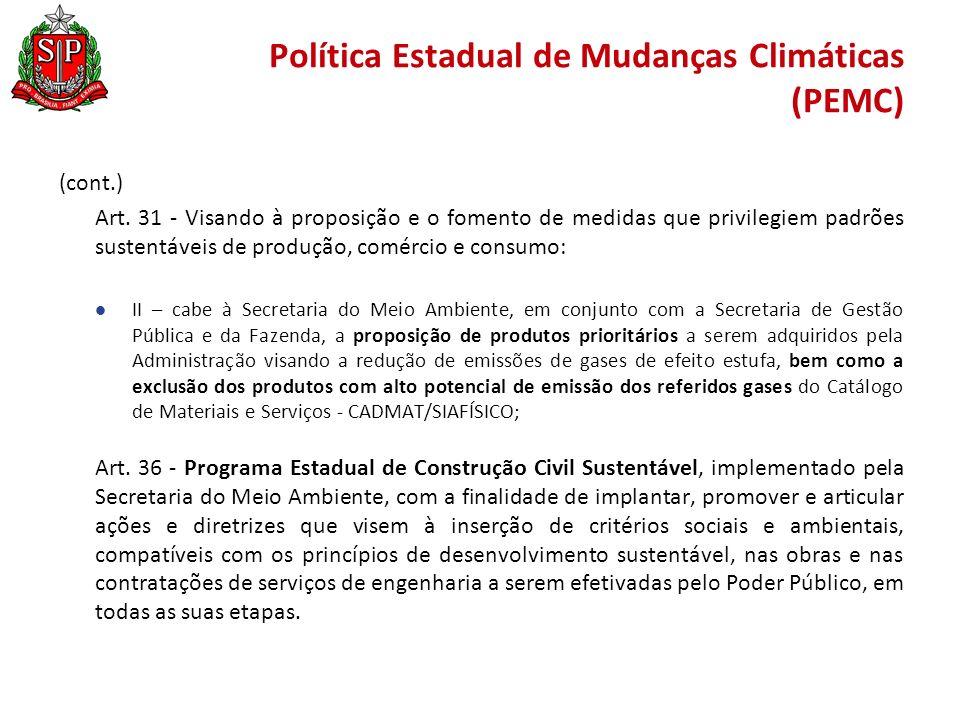 Política Estadual de Mudanças Climáticas (PEMC) (cont.) Art.