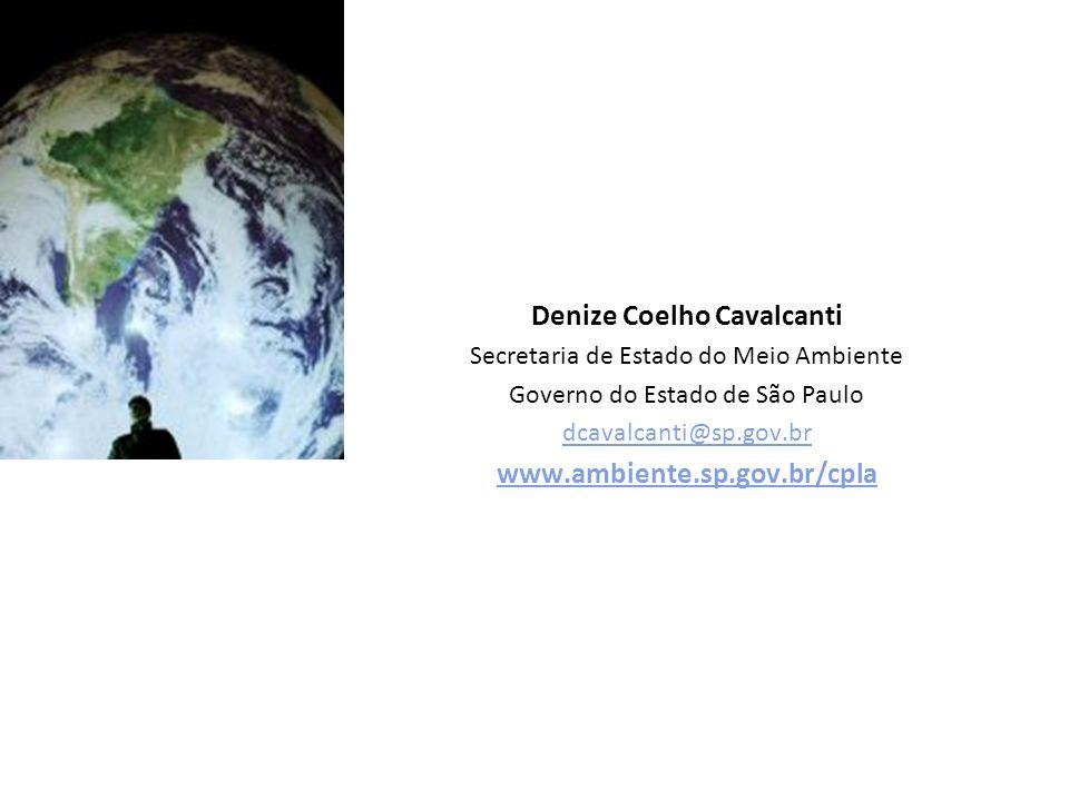 Denize Coelho Cavalcanti Secretaria de Estado do Meio Ambiente Governo do Estado de São Paulo dcavalcanti@sp.gov.br www.ambiente.sp.gov.br/cpla