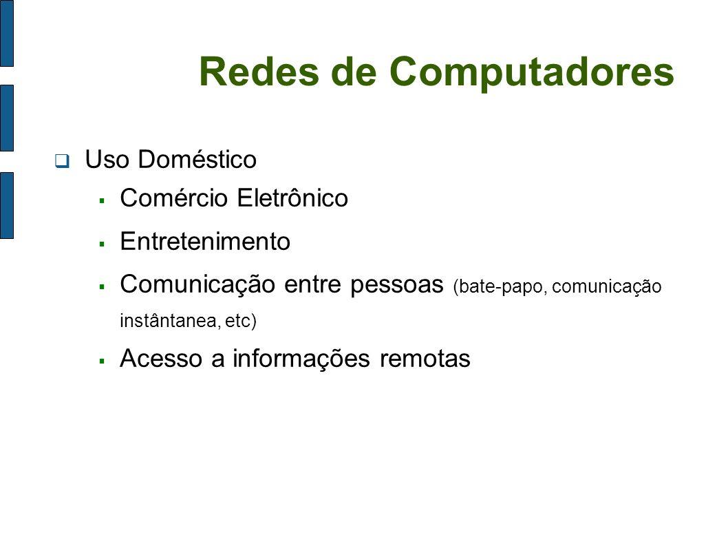 Redes de Computadores Uso Doméstico Comércio Eletrônico Entretenimento Comunicação entre pessoas (bate-papo, comunicação instântanea, etc) Acesso a in