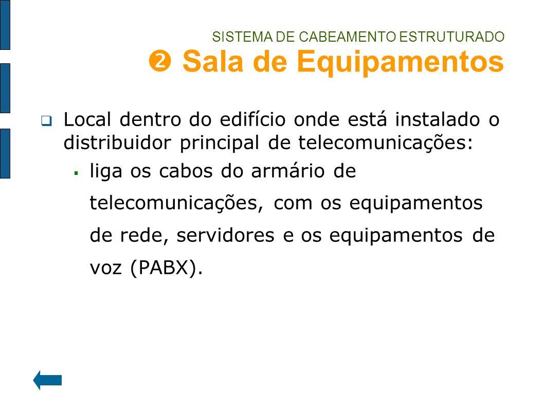 SISTEMA DE CABEAMENTO ESTRUTURADO Sala de Equipamentos Local dentro do edifício onde está instalado o distribuidor principal de telecomunicações: liga