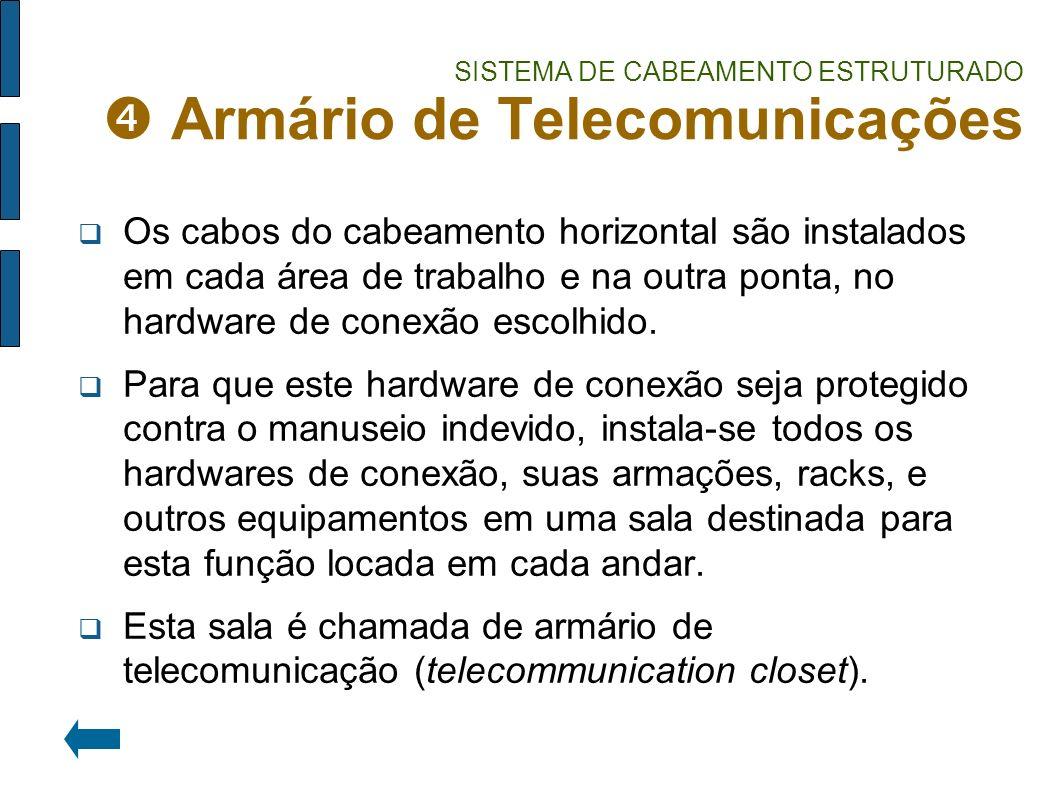 SISTEMA DE CABEAMENTO ESTRUTURADO Armário de Telecomunicações Os cabos do cabeamento horizontal são instalados em cada área de trabalho e na outra pon