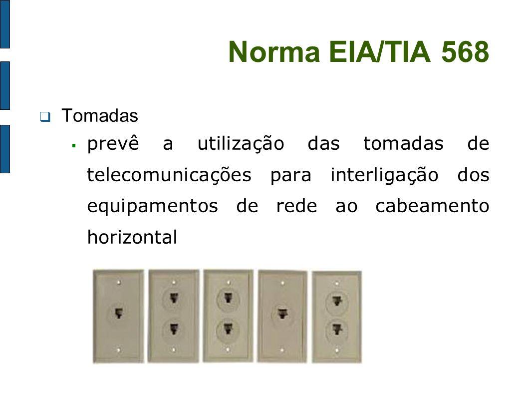 Norma EIA/TIA 568 Tomadas prevê a utilização das tomadas de telecomunicações para interligação dos equipamentos de rede ao cabeamento horizontal