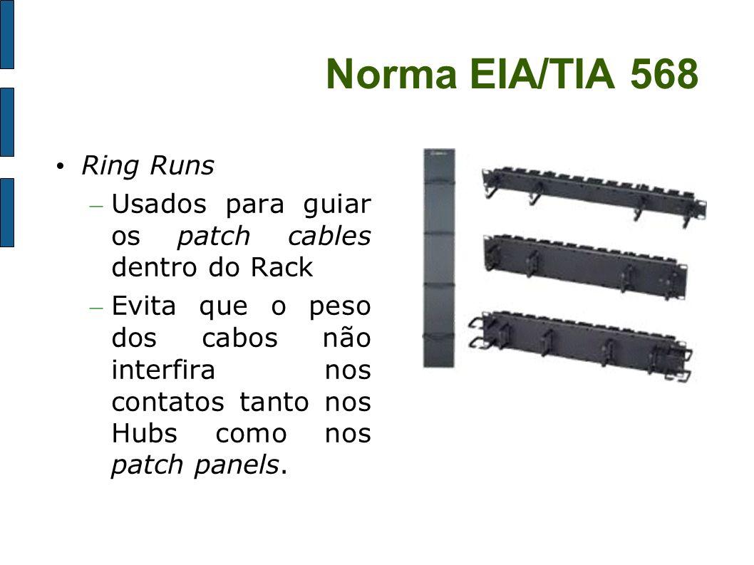 Norma EIA/TIA 568 Ring Runs – Usados para guiar os patch cables dentro do Rack – Evita que o peso dos cabos não interfira nos contatos tanto nos Hubs