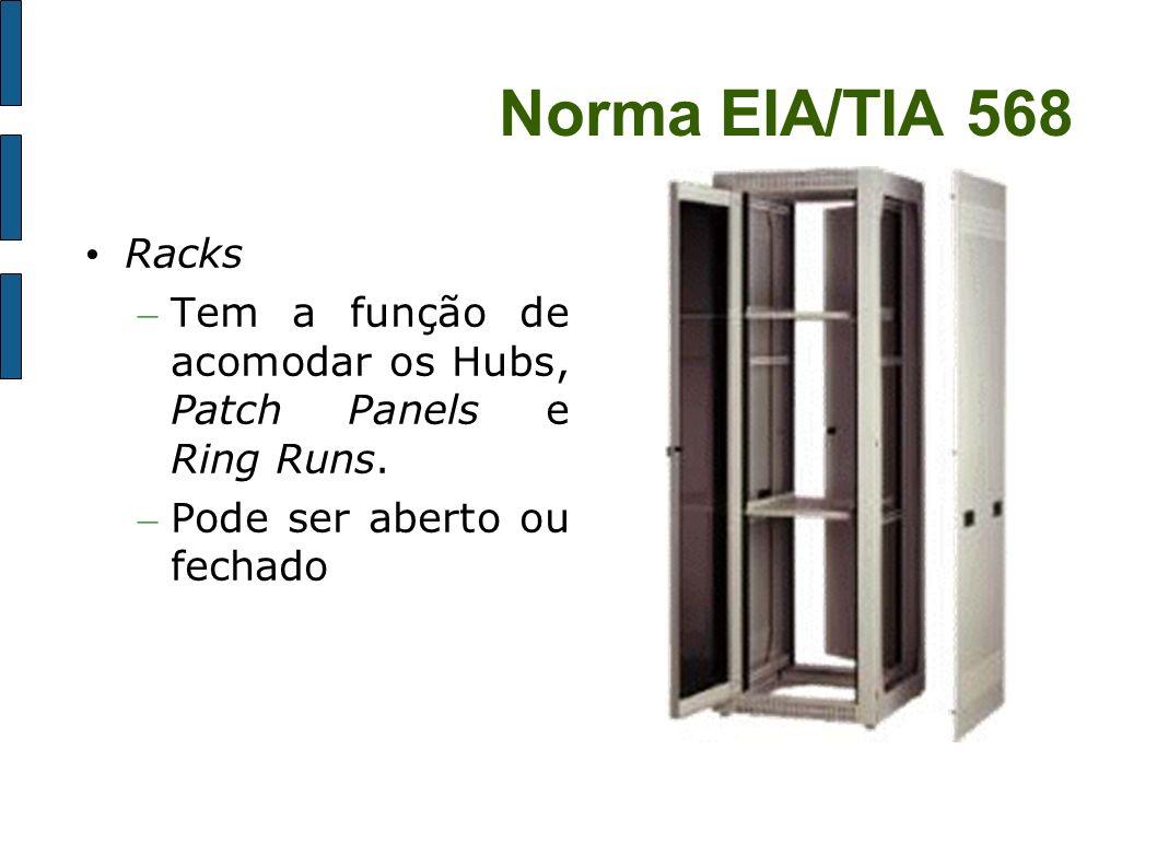 Norma EIA/TIA 568 Racks – Tem a função de acomodar os Hubs, Patch Panels e Ring Runs. – Pode ser aberto ou fechado