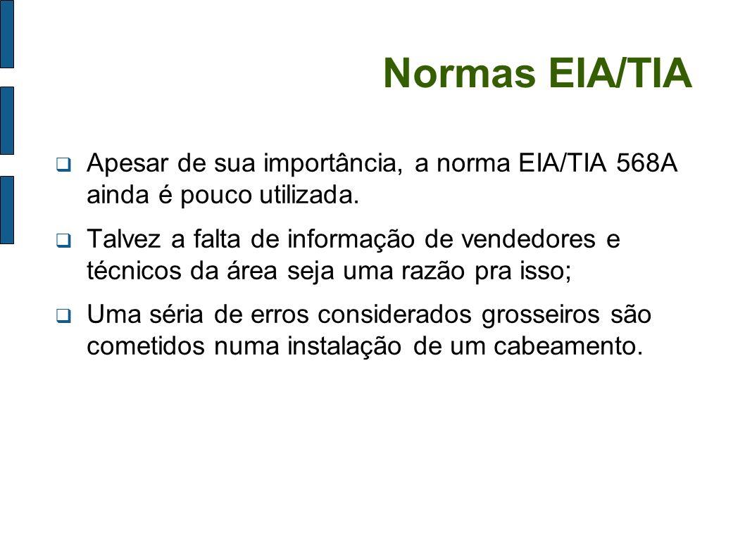 Normas EIA/TIA Apesar de sua importância, a norma EIA/TIA 568A ainda é pouco utilizada. Talvez a falta de informação de vendedores e técnicos da área