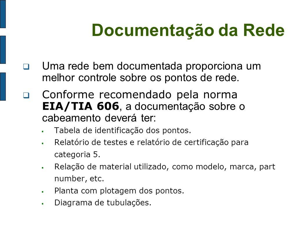 Documentação da Rede Uma rede bem documentada proporciona um melhor controle sobre os pontos de rede. Conforme recomendado pela norma EIA/TIA 606, a d