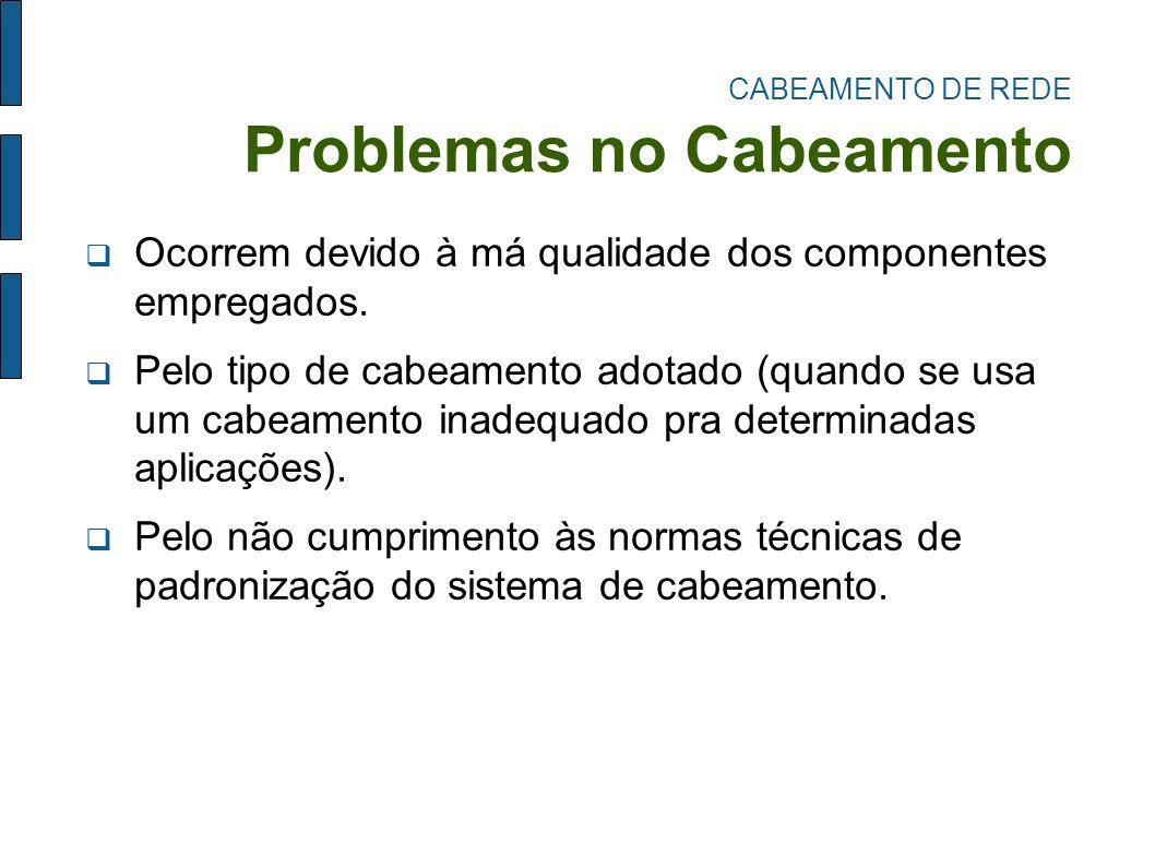 CABEAMENTO DE REDE Problemas no Cabeamento Ocorrem devido à má qualidade dos componentes empregados. Pelo tipo de cabeamento adotado (quando se usa um