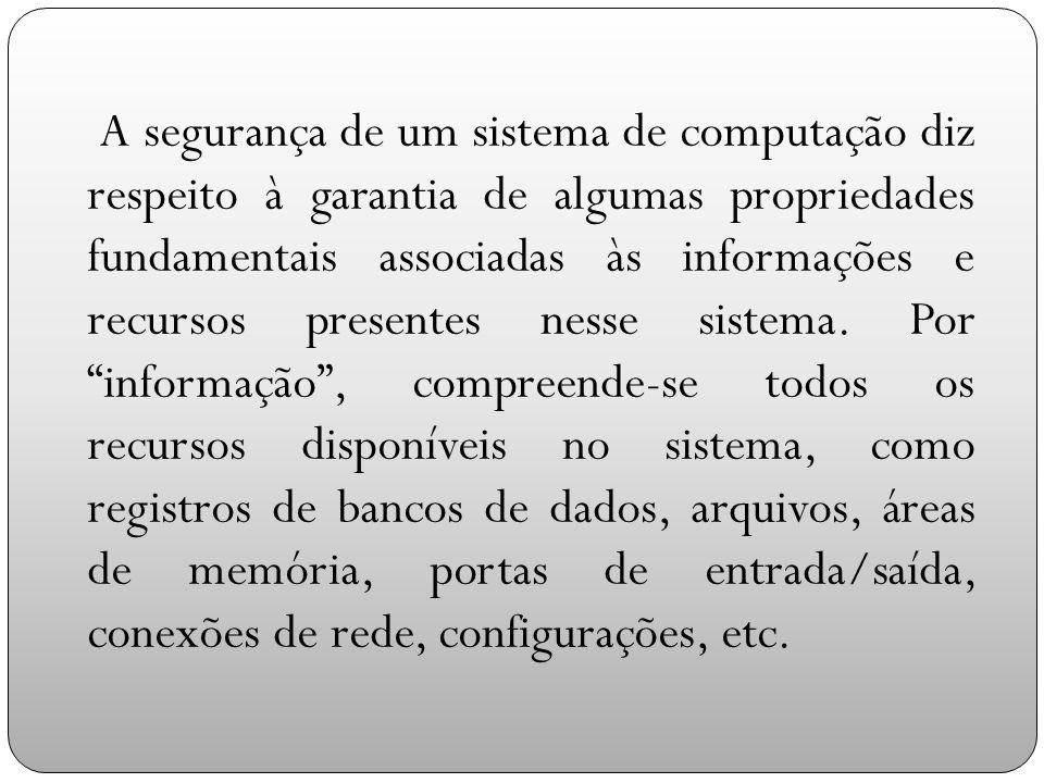 A segurança de um sistema de computação diz respeito à garantia de algumas propriedades fundamentais associadas às informações e recursos presentes nesse sistema.
