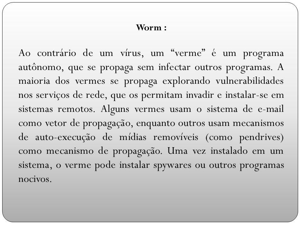 Worm : Ao contrário de um vírus, um verme é um programa autônomo, que se propaga sem infectar outros programas.