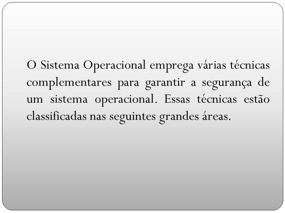 O Sistema Operacional emprega várias técnicas complementares para garantir a segurança de um sistema operacional.