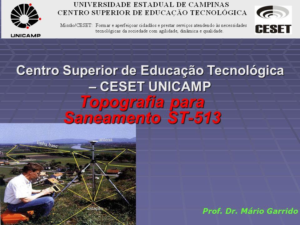 Centro Superior de Educação Tecnológica – CESET UNICAMP Prof. Dr. Mário Garrido Topografia para Saneamento ST-513