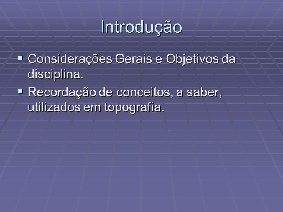 Introdução Considerações Gerais e Objetivos da disciplina.