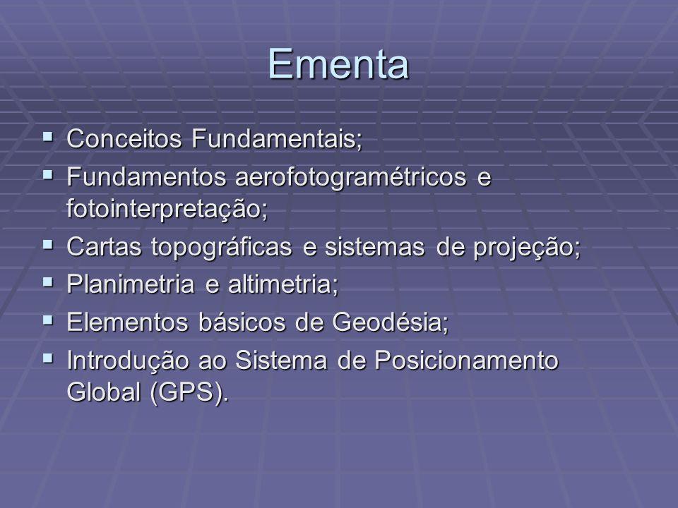 Ementa Conceitos Fundamentais; Conceitos Fundamentais; Fundamentos aerofotogramétricos e fotointerpretação; Fundamentos aerofotogramétricos e fotointerpretação; Cartas topográficas e sistemas de projeção; Cartas topográficas e sistemas de projeção; Planimetria e altimetria; Planimetria e altimetria; Elementos básicos de Geodésia; Elementos básicos de Geodésia; Introdução ao Sistema de Posicionamento Global (GPS).
