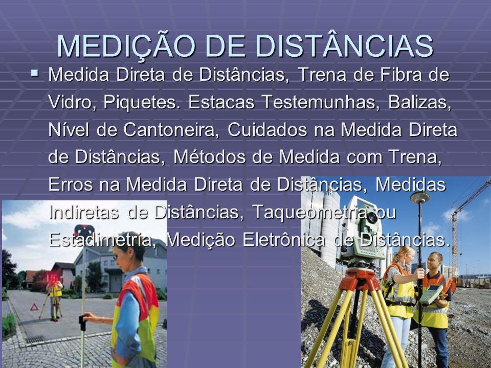 MEDIÇÃO DE DISTÂNCIAS Medida Direta de Distâncias, Trena de Fibra de Vidro, Piquetes.
